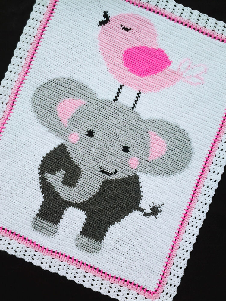 Crochet Pattern For Elephant Blanket : Crochet Patterns - ELEPHANT and BIRD Afghan Pattern eBay