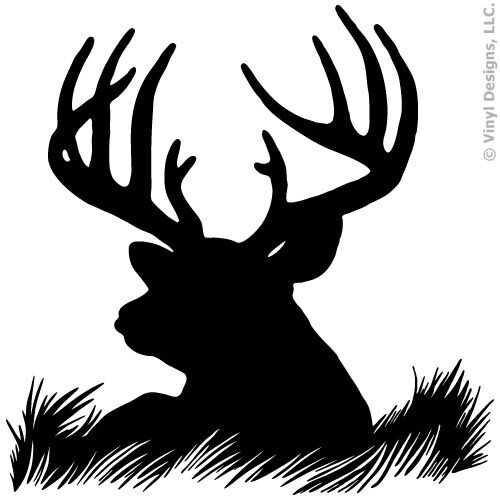 Deer Head Silhouette Buck Hunting Vinyl Wall Decal Sticker