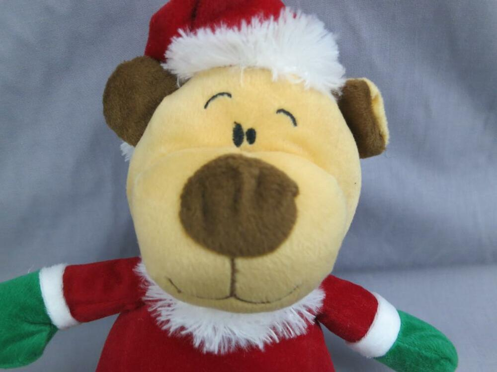 Brown teddy bear christmas red hat santa claus holiday