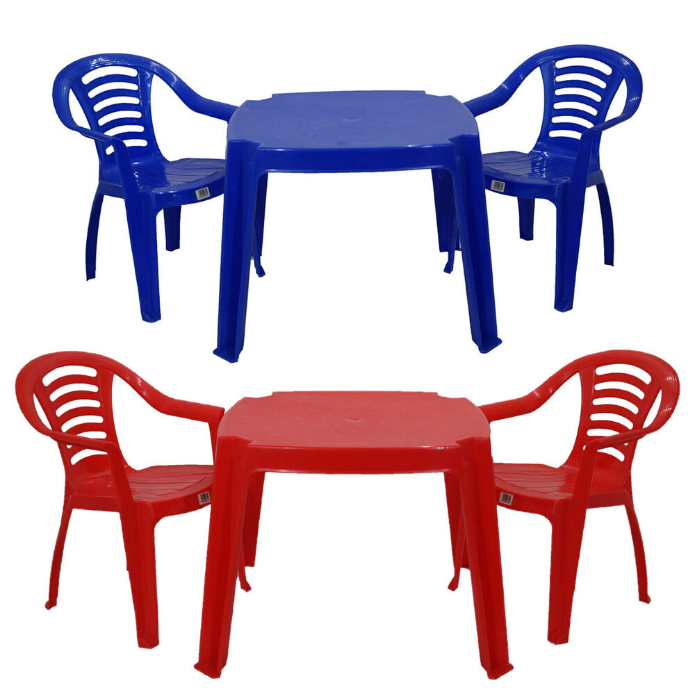 Childrens Kids Plastic Table and Chairs Red or Blue ...