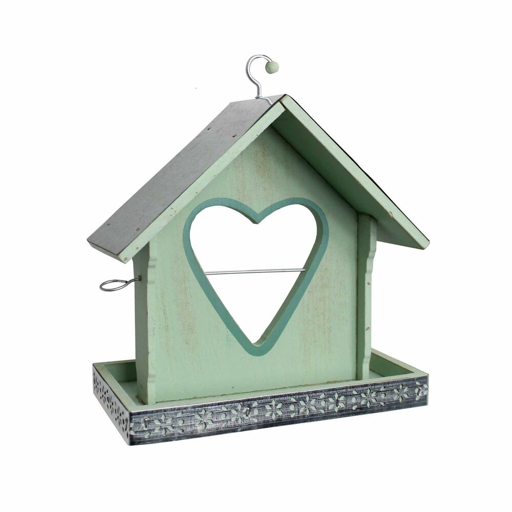 green hanging heart wooden apple holder bird seed tray