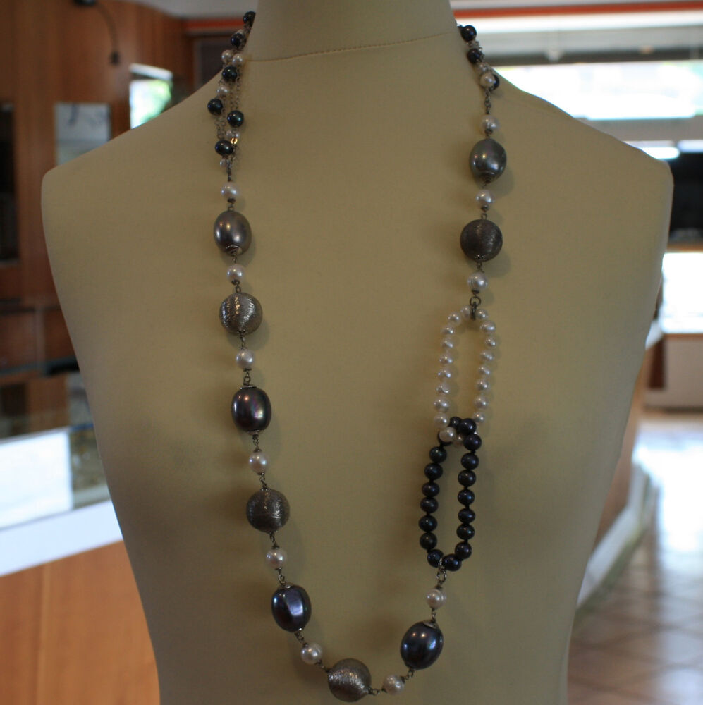 Necklace With A Pearl: .925 SILVER RHODIUM MULTI STRAND NECKLACE WITH WHITE AND