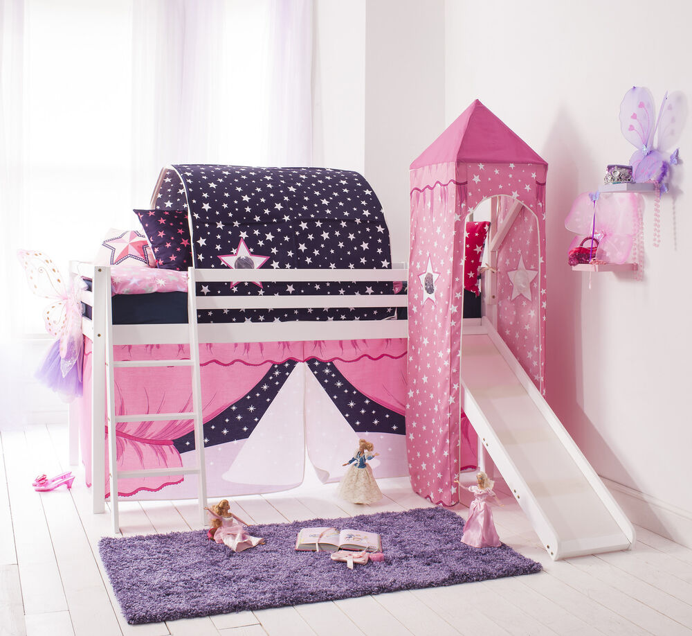 Cabin Bed Mid Sleeper Pine Kids Bed With Slide Showtime