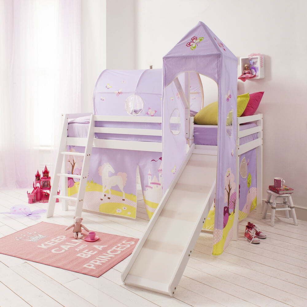 cabin bed mid sleeper pine kids bed with slide princess fairytale tent 6670 ebay. Black Bedroom Furniture Sets. Home Design Ideas