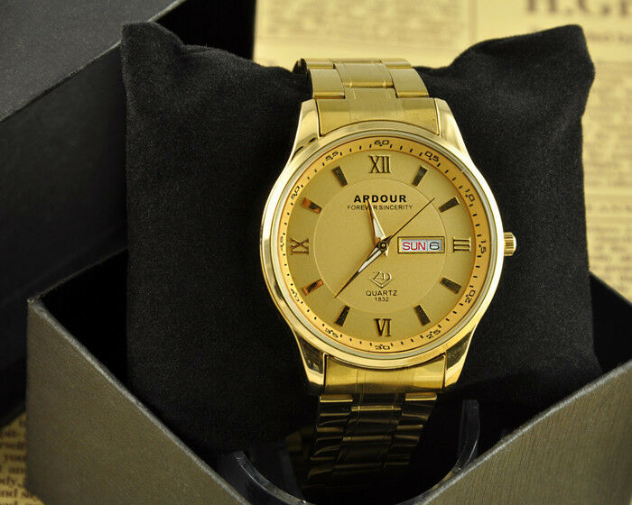 Luxury 18k Gold Plated Stainless Steel Analog Quartz Date