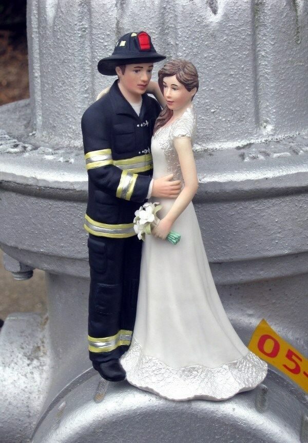 Fireman With Bride Wedding Cake Topper Custom Colors