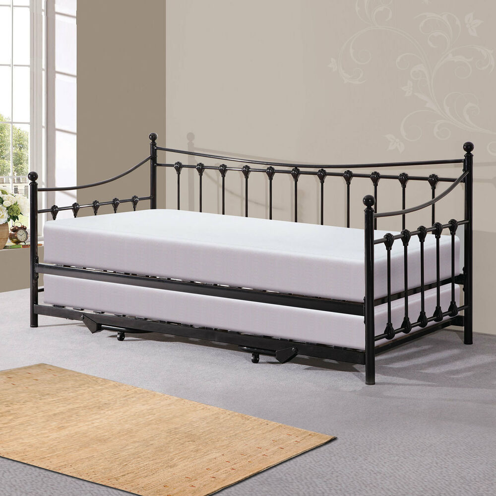 new memphis metal day bed with trundle bed 2x memory sprung ortho mattress ebay. Black Bedroom Furniture Sets. Home Design Ideas