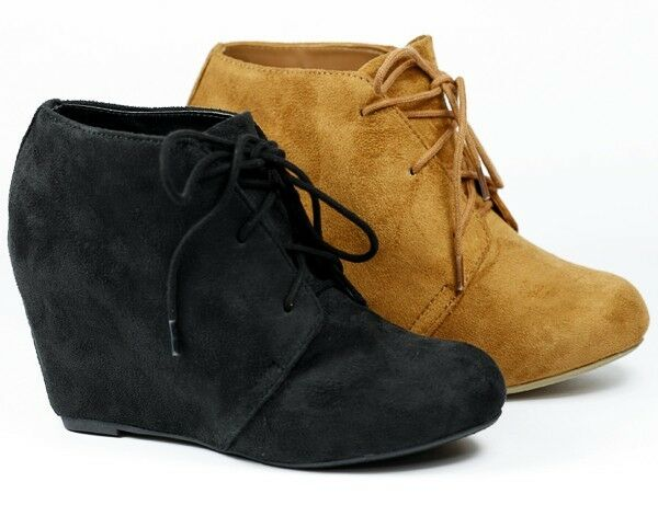toe wedge lace up fashion ankle boot bootie soda