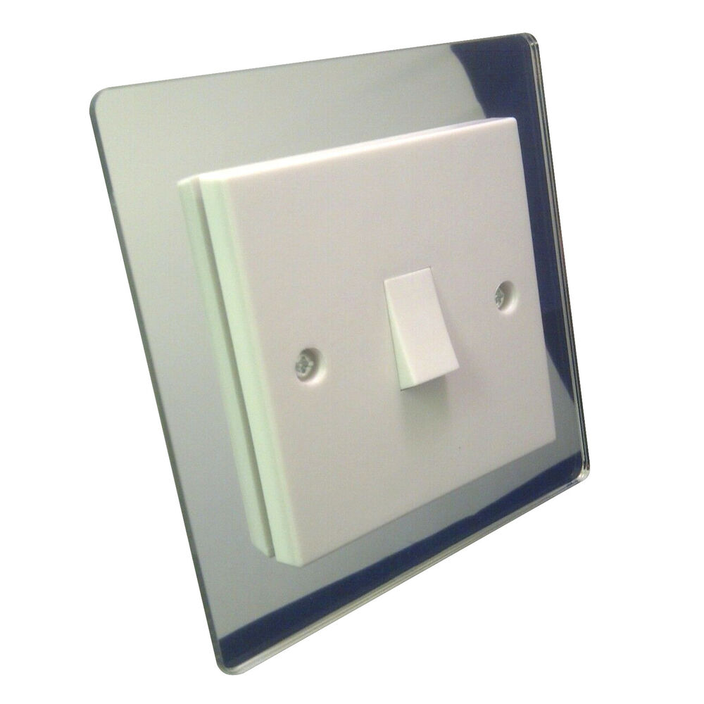 SINGLE LIGHT SWITCH SURROUND MIRROR ACRYLIC PERSPEX PLASTIC FINGER PLATE