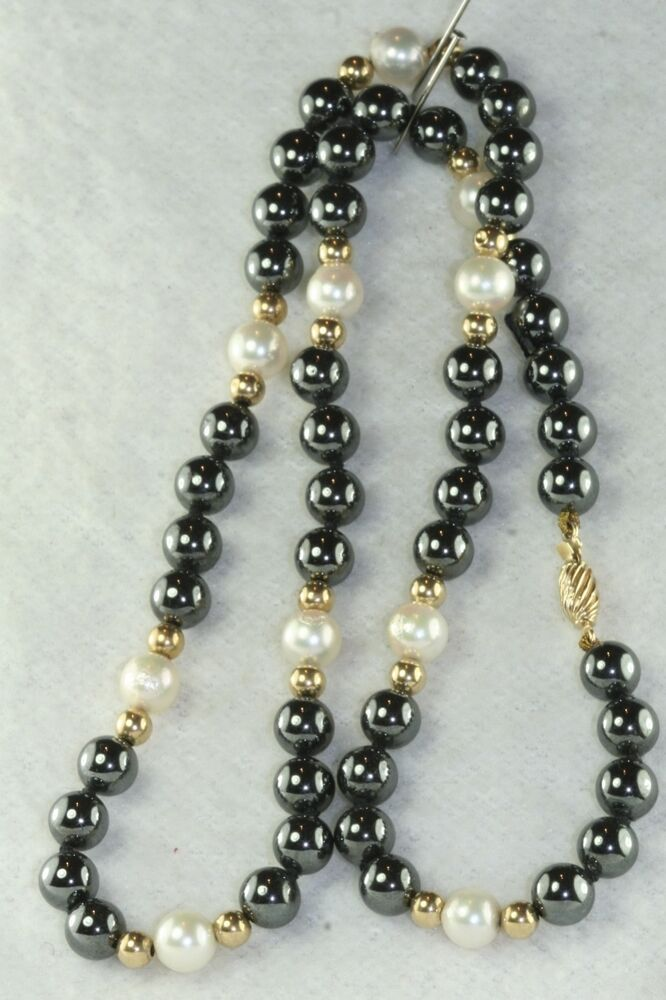 17 5 Inches Long 14k Gold Pearl Hematite Bead Necklace Ebay