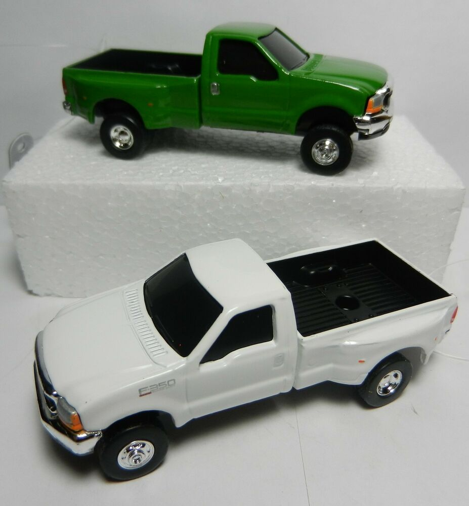 PAIR = ERTL 1:64 *GREEN & WHITE* Ford F-350 Super Duty DUALLY Pickup Truck NEW! | eBay