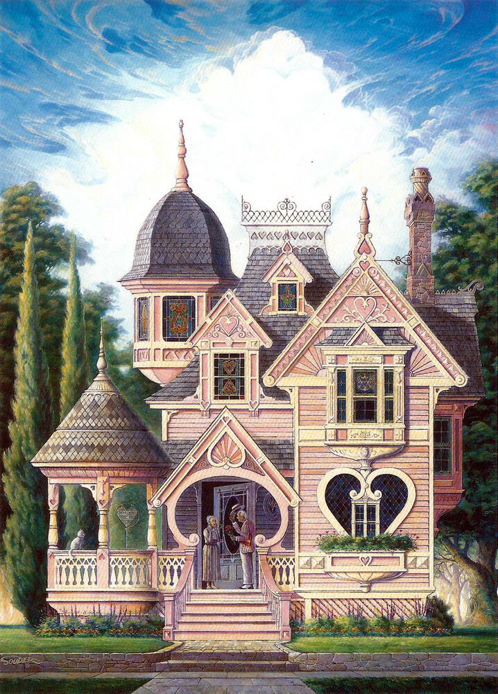 Mansion Drawing: Victorian Queen Anne Gingerbread Valentine Heart House Art