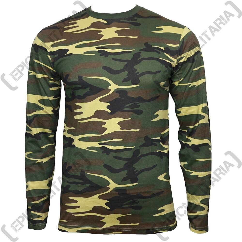 Long sleeve woodland camouflage t shirt all sizes us for Military t shirt companies