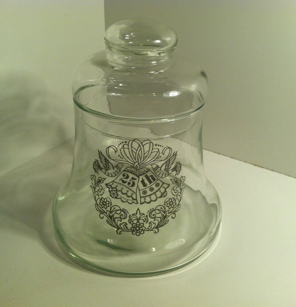 vintage clear glass candy bell jar with apothecary lid 25th wedding anniversary ebay. Black Bedroom Furniture Sets. Home Design Ideas