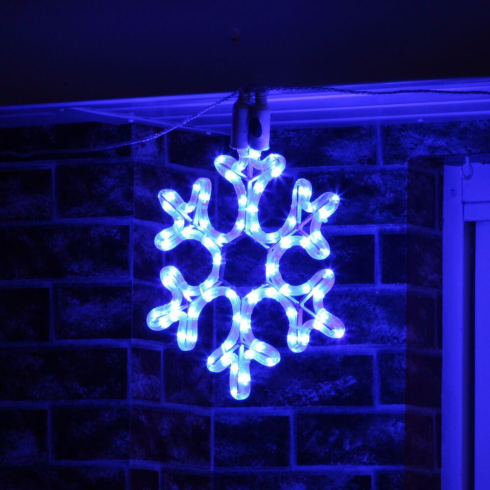 Led snowflake rope light outdoor connectable christmas for Led outdoor decorations