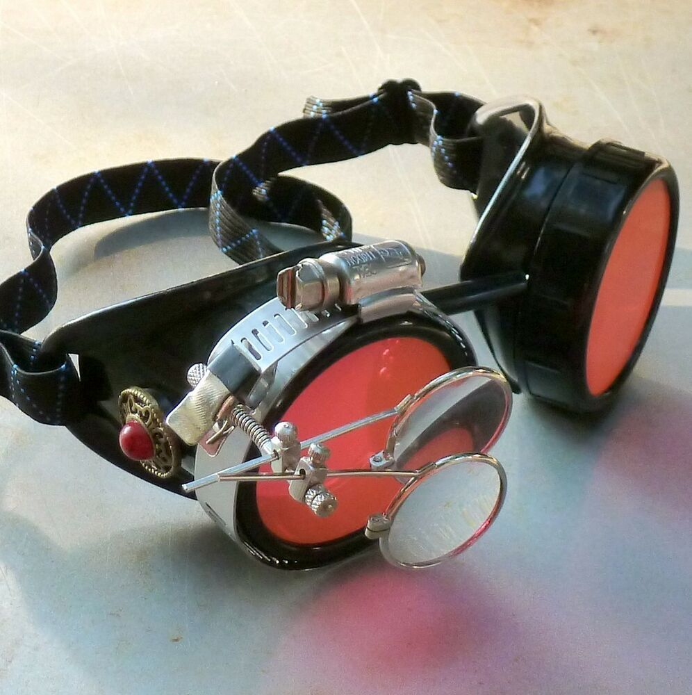 Steampunk goggles Victorian glasses novelty costume welding lens goth GGG -red | eBay