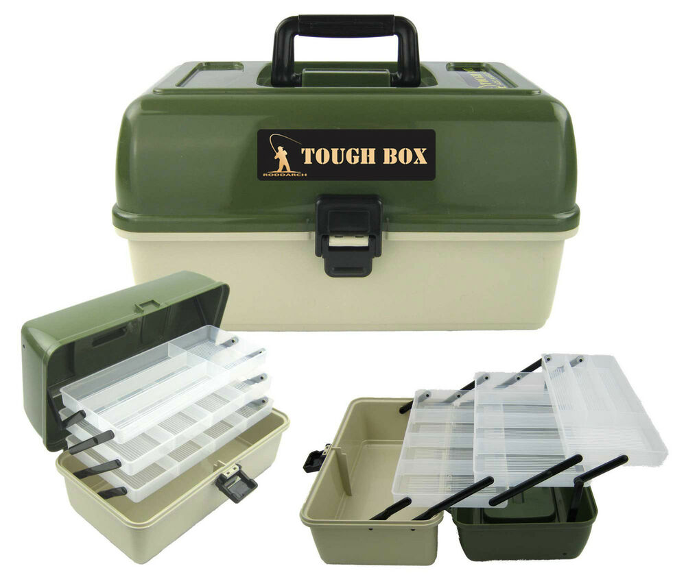 Large fishing tackle box 3 tray cantilever 39 tough box 39 sea for Fishing gear and tackle