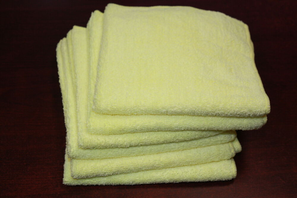 6 YELLOW Microfiber Towels Super Soft Plush Cleaning Cloth ...