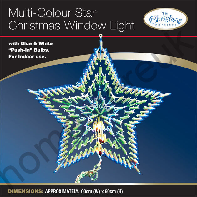 Blue clear star christmas decoration multicolour for 18 lighted christmas tree with stars window silhouette decoration