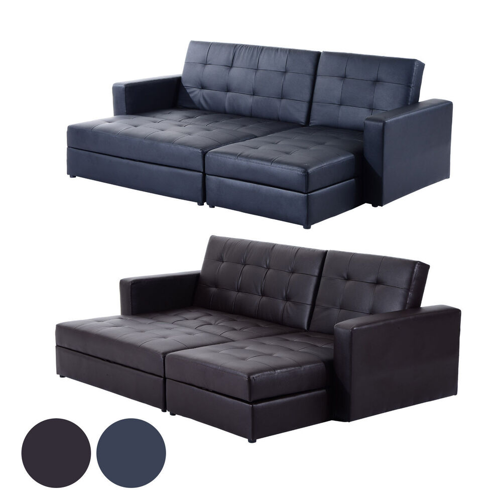 Deluxe Faux Leather Corner Sofa Bed Storage Sofabed Couch With Ottoman Brand New Ebay