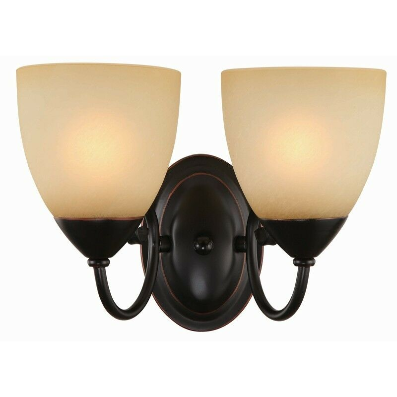 Oil rubbed bronze 2 bulb bathroom light wall sconce - Bathroom lighting oil rubbed bronze ...