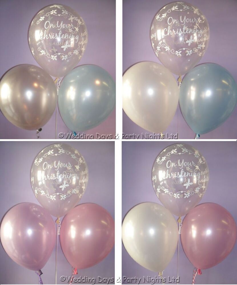 30 boys or girls christening helium or air balloons party for Balloon decoration ideas for christening