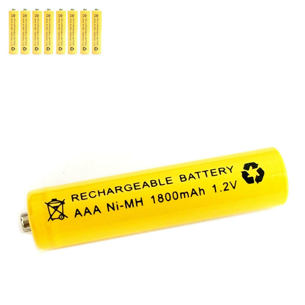8 pcs aaa 3a 1800mah 1 2v ni mh rechargeable battery solar light mp3 rc yellow ebay. Black Bedroom Furniture Sets. Home Design Ideas