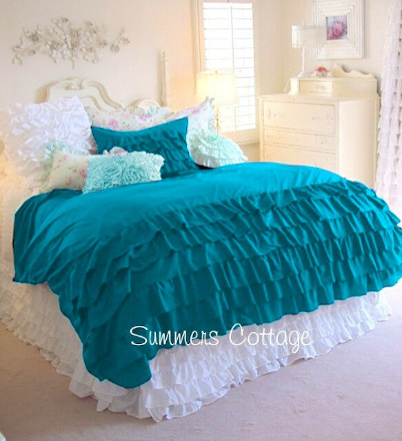 SHABBY COTTAGE CHIC AQUA TURQUOISE TEAL QUEEN RUFFLED