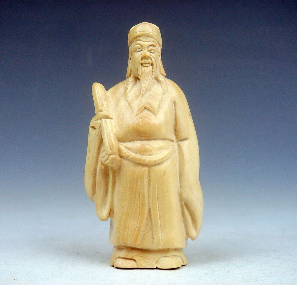 Boxwood hand carved netsuke sculpture immortal holding