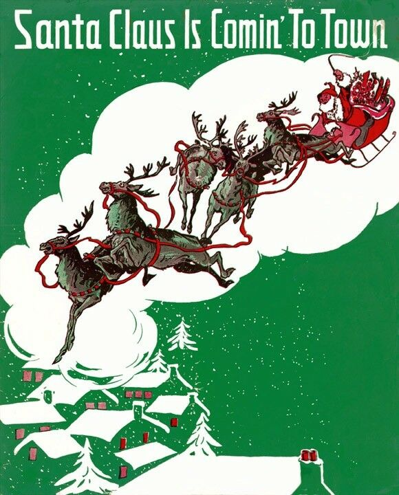 Merry Christmas Santa Claus Coming To Town Reindeer Sleigh