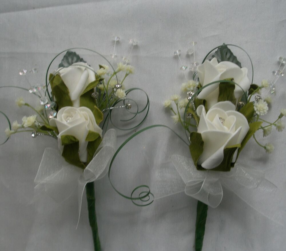 Wedding Flowers Groom Best Man Usher 2 Double Rose, Gyp