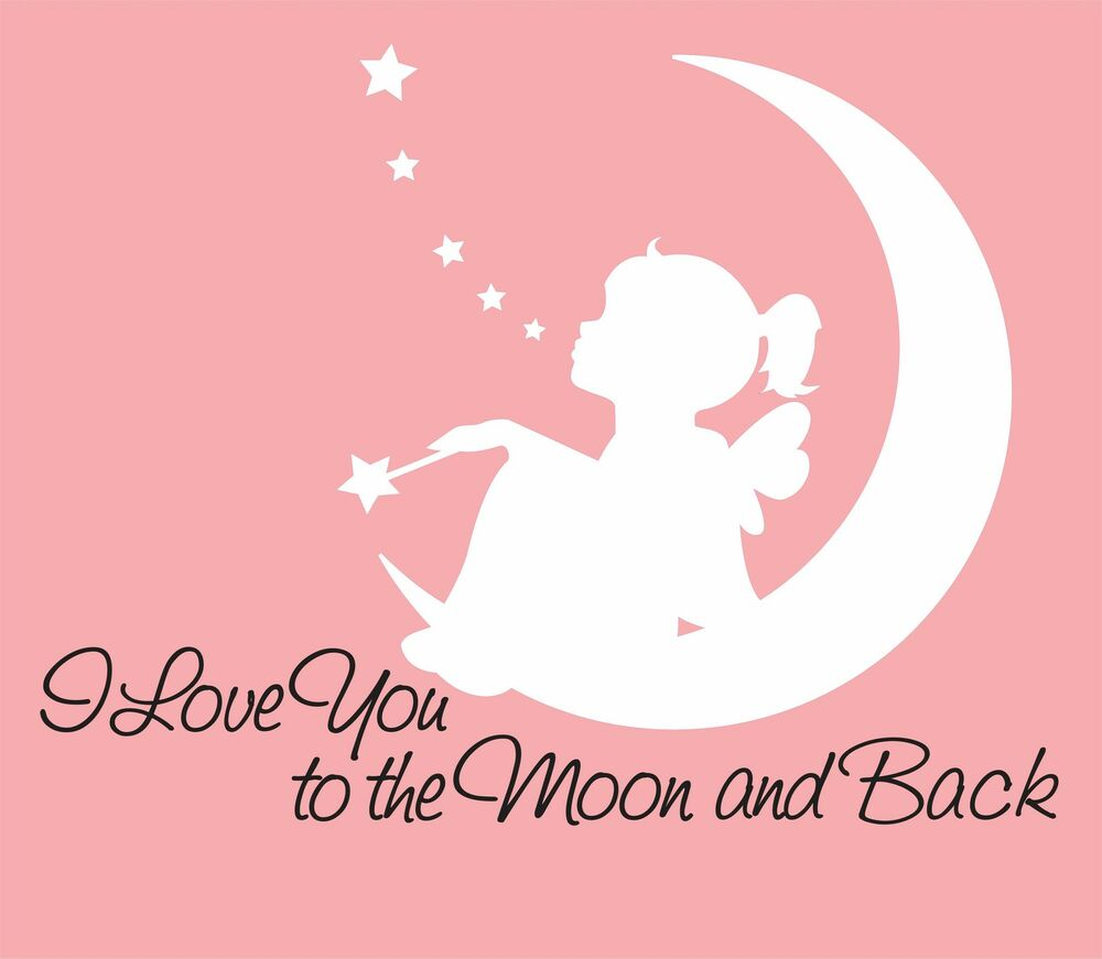 i love you to the moon and back wall decal fairy decal. Black Bedroom Furniture Sets. Home Design Ideas