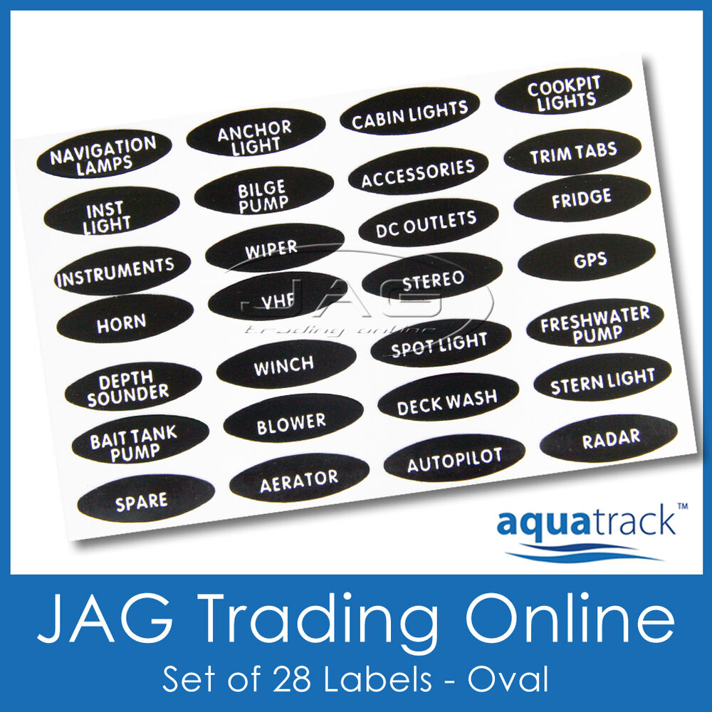 SET OVAL SWITCH PANEL LABELS -Boat/Marine/Caravan/4x4 Toggle Name Decal Stickers : eBay