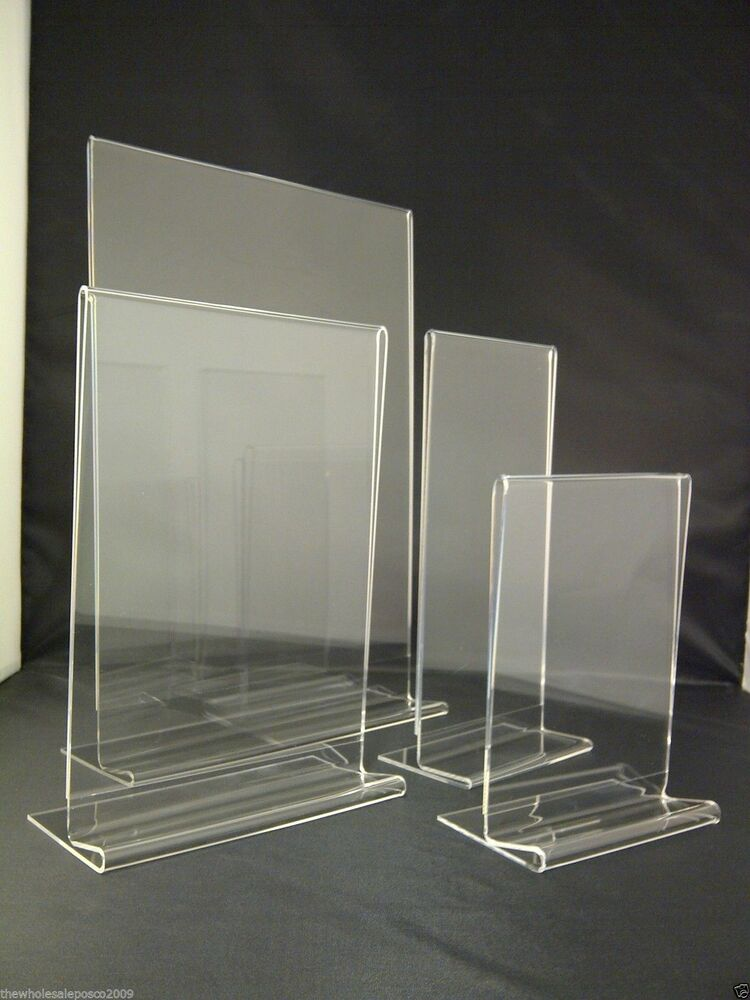 Acrylic menu holders sign displays a3 a4 a5 a6 dl for Plastic flyer stand