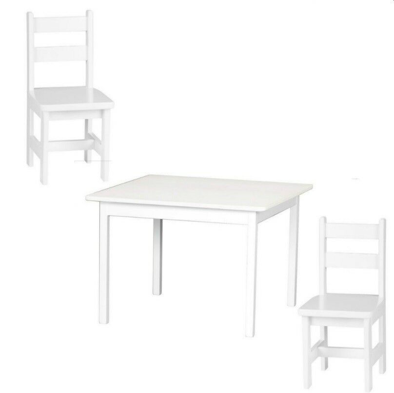 Child Kitchen Table 2 Chairs White Wood Homeschool Kids Play Furniture Ebay