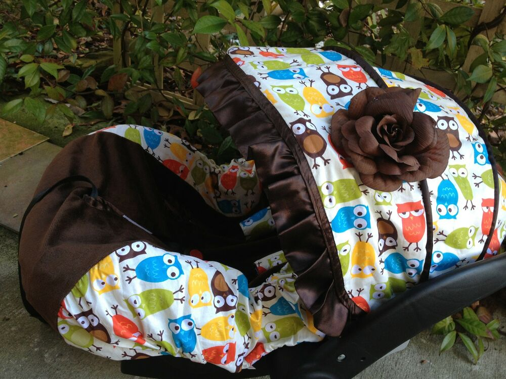 baby owl infant car seat cover canopy cover slip covers fit most seat boy girl ebay. Black Bedroom Furniture Sets. Home Design Ideas