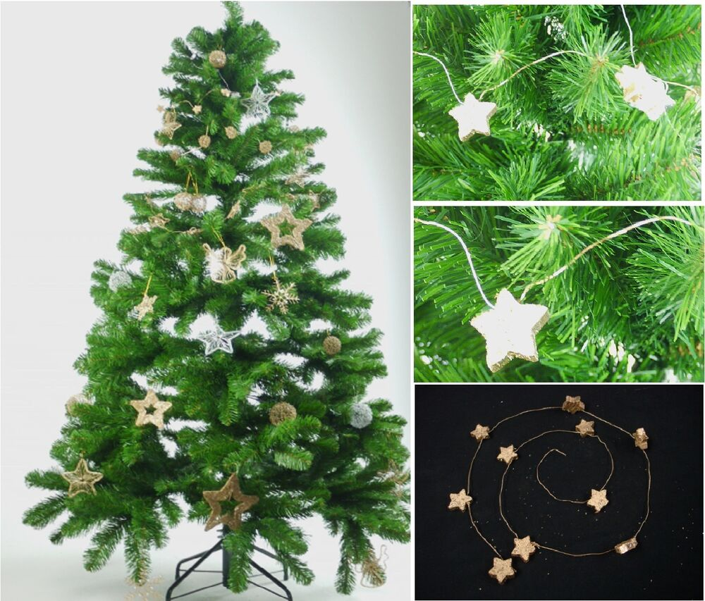 3 X Gold Wooden Star Wire Garland Wreath Christmas Xmas