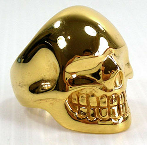 metalic skull 14k yellow gold solid brass mens ring sz 10