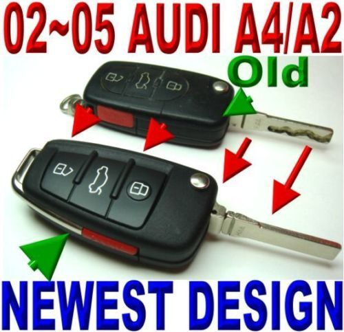 Audi R8 Style Key For 2002 2005 A4 Remote Keyless Entry