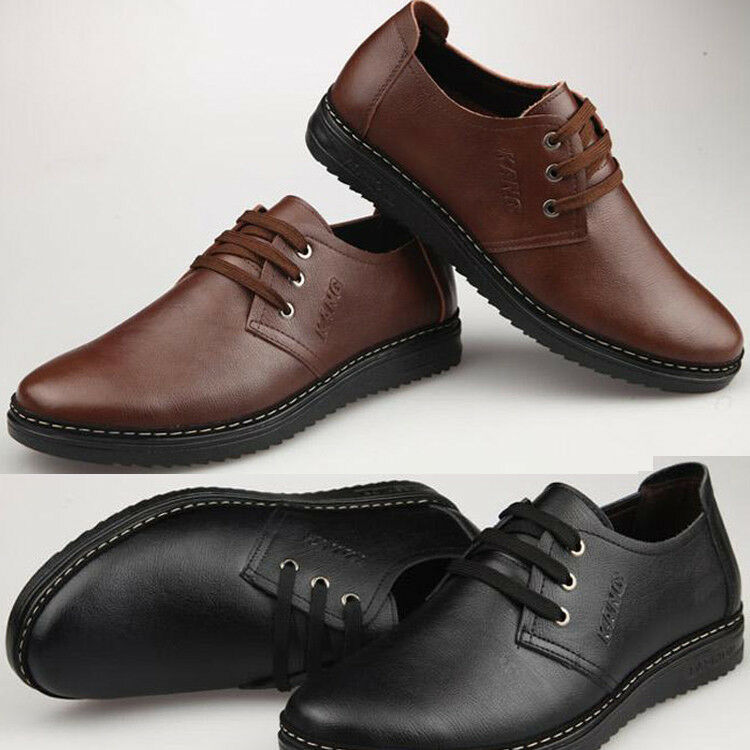 new mens fashion genuine leather shoes lace up low top