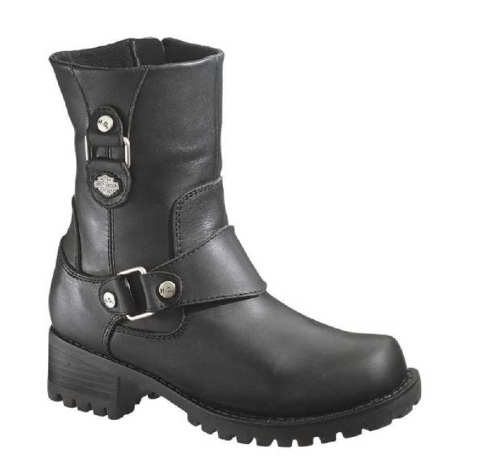 Harley davidson women s alivia black leather 7 inch motorcycle boots