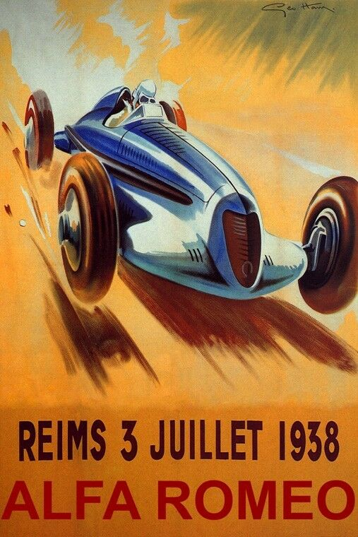 reims french riviera 1938 fast alfa romeo car automobile vintage poster repro ebay. Black Bedroom Furniture Sets. Home Design Ideas