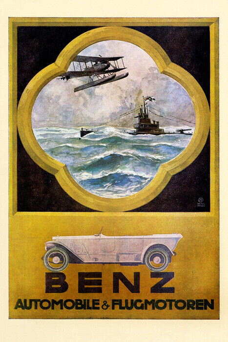 1918 mercedes benz car automobile airplane ship germany for Vintage mercedes benz posters