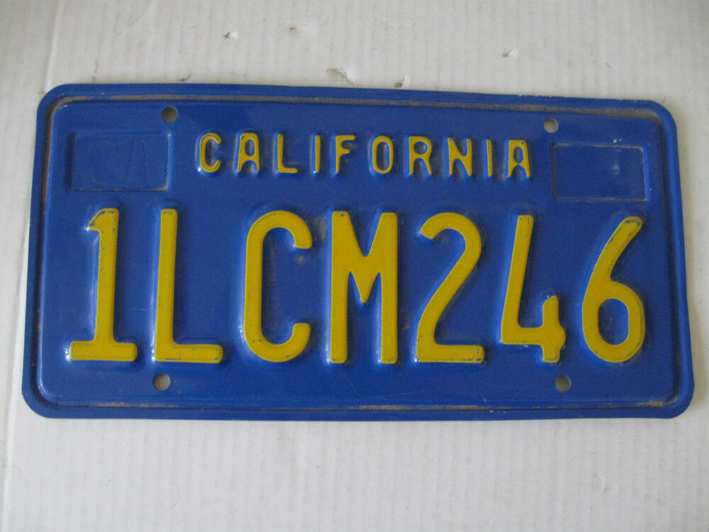 1970s 1980s gold blue california license plate 1lcm246 tag embossed metal ca ebay. Black Bedroom Furniture Sets. Home Design Ideas