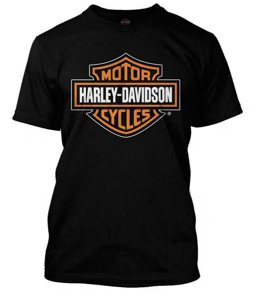 harley davidson men 39 s orange bar shield black t shirt. Black Bedroom Furniture Sets. Home Design Ideas