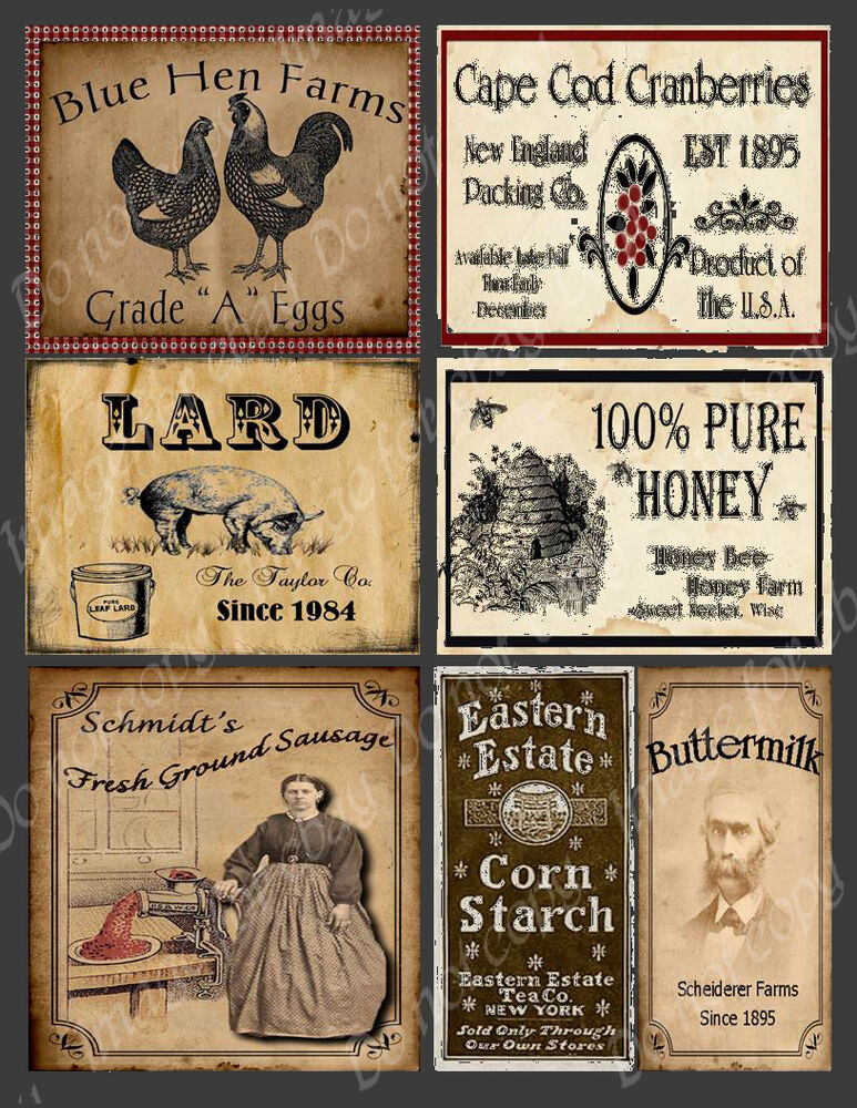 primitive vintage style labels fh451 ebay. Black Bedroom Furniture Sets. Home Design Ideas