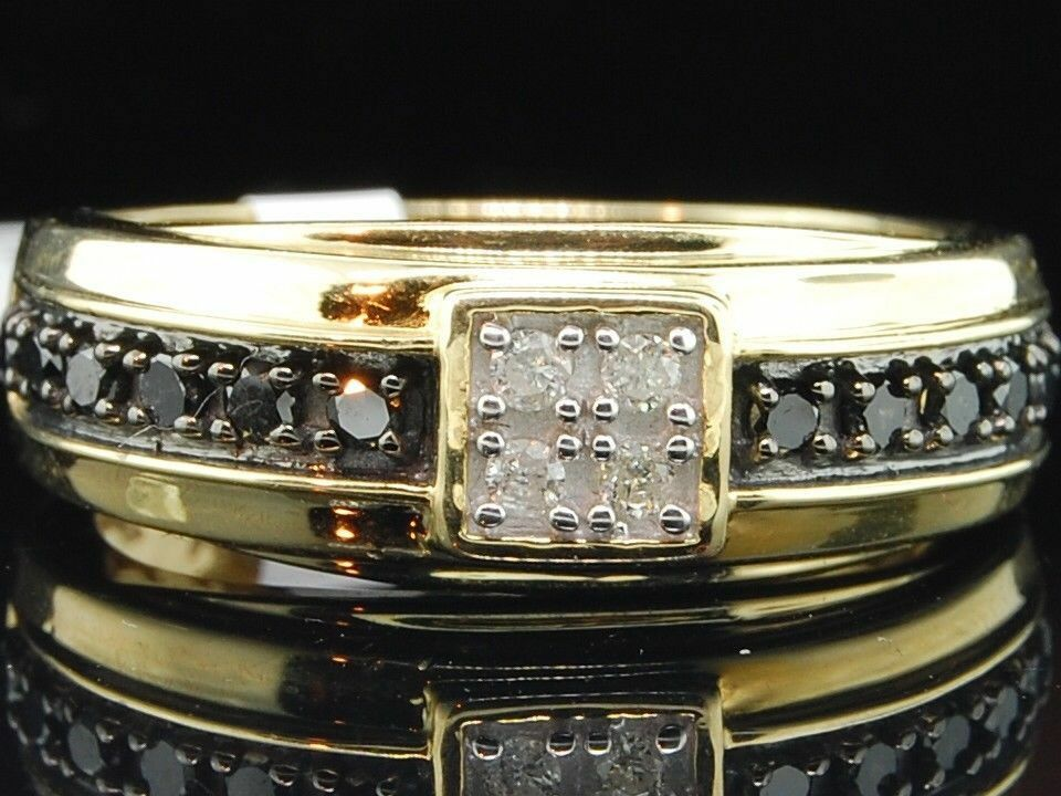 yellow diamond wedding ring mens 10k yellow gold black amp white engagement ring 1515