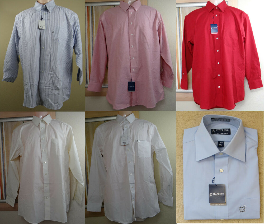 New stafford stripe or solid blue red pink long sleeve for Where to buy stafford dress shirts