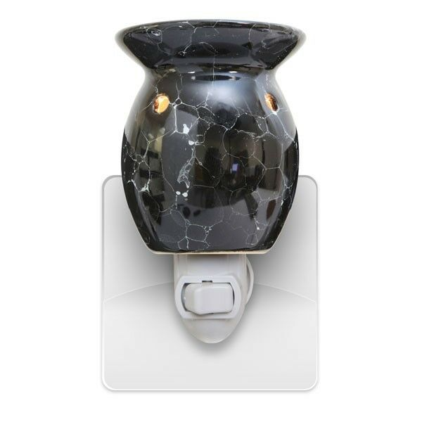 new black marbled plug in scented oil tart burner warmer. Black Bedroom Furniture Sets. Home Design Ideas