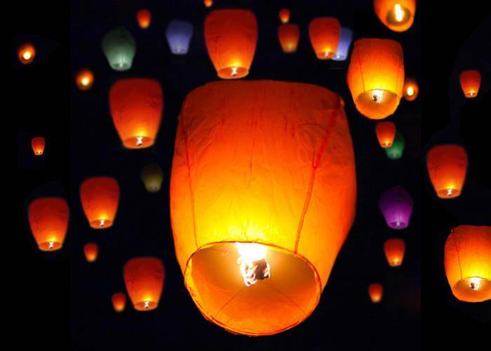 Lot 50 White Paper Chinese Lanterns Sky Fire Fly Candle